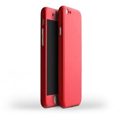 Θήκη iphone 7/8 Plus Hybrid 360 Full body + Tempered Glass (Τζάμι) - Προστασία Οθόνης - 2612 - Κόκκινο - OEM