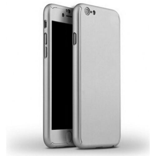 Θήκη iphone 7/8 Hybrid 360 Full body + Tempered Glass (Τζάμι) - Προστασία Οθόνης - 2730 - Ασημί - OEM