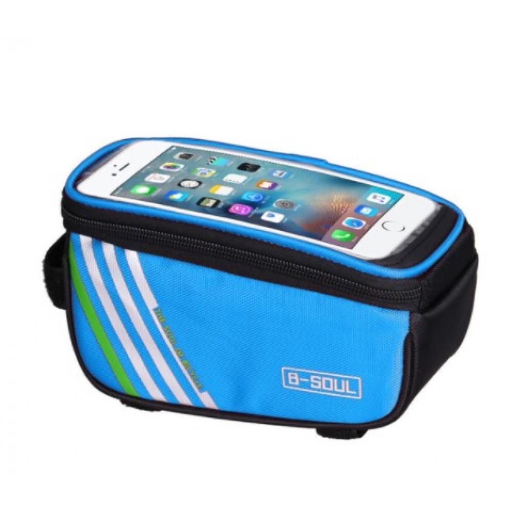 Τσαντάκι ποδηλάτου με θήκη για κινητό B-SOUL - 2751 - Γαλάζιο - OEM Αξεσουάρ Ποδηλάτου