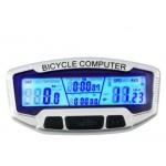 Κοντέρ ποδηλάτου ψηφιακό με θερμόμετρο - Ρολόι - Χρονόμετρο - 2755 - Ασημί - OEM Αξεσουάρ Ποδηλάτου