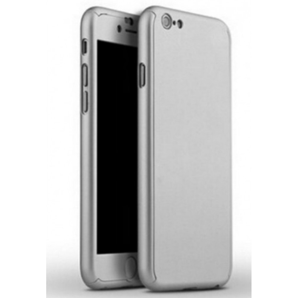 Θήκη iphone 7/8 Plus  Hybrid 360 Full body + Tempered Glass (Τζάμι) - Προστασία Οθόνης - 2848 - Ασημί - OEM Θήκες Κινητών