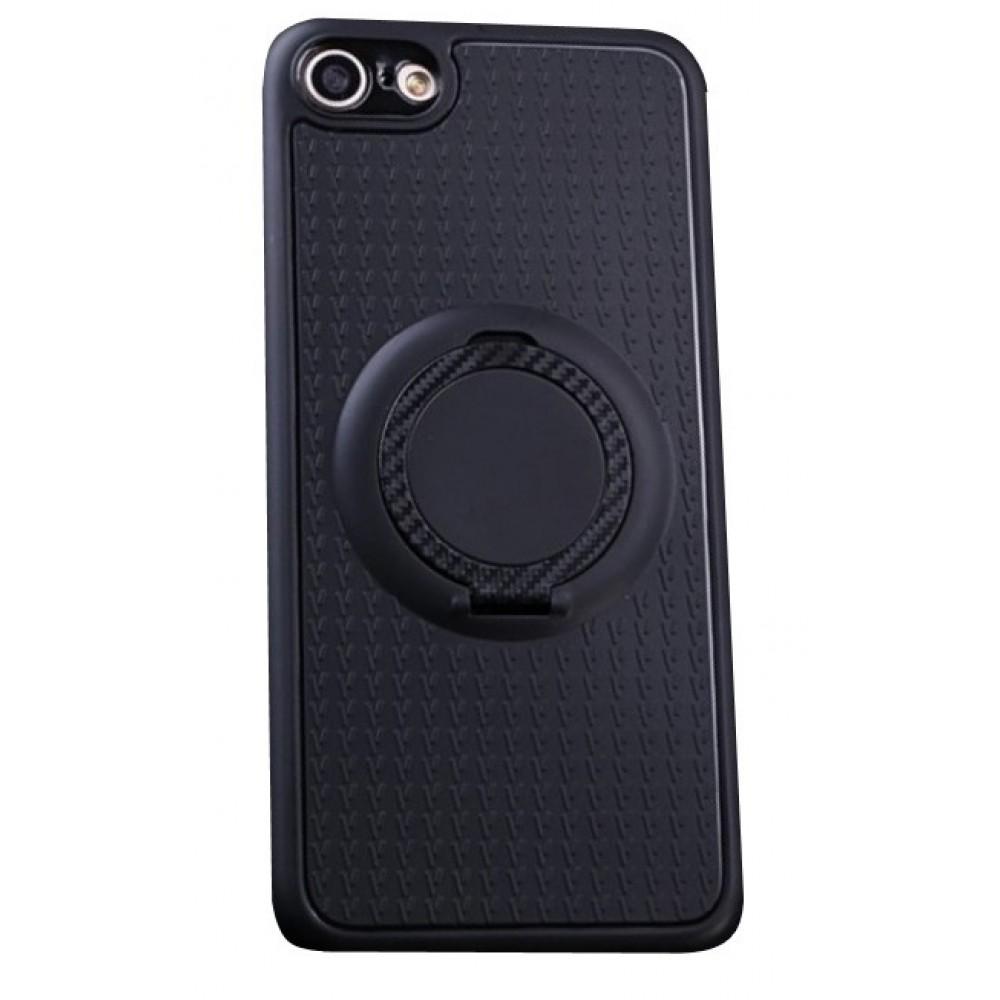 Θήκη iphone 7/8 Σιλικόνης TPU με δαχτυλίδι και μεταλλικό κέντρο στήριξης - 2956 - Μαύρο - OEM Θήκες Κινητών