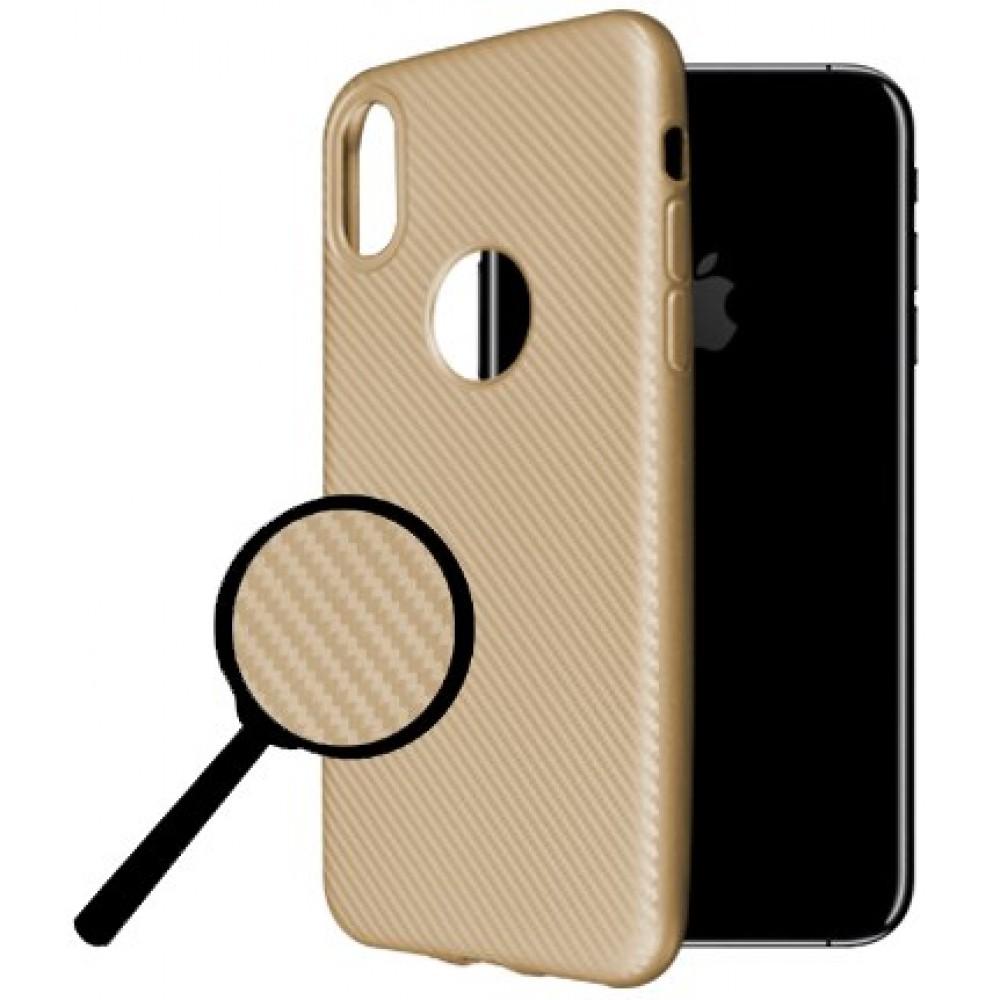 Θήκη iphone X/XS Okkes Super Slim Σιλικόνης - 2976 - Carbon Χρυσό - OEM Θήκες Κινητών