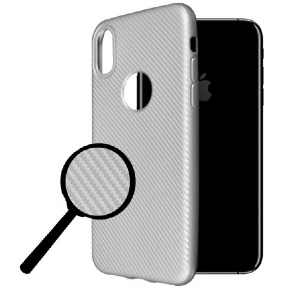 Θήκη iphone X/XS Okkes Super Slim Σιλικόνης - 2977 - Carbon Ασημί - OEM Θήκες Κινητών