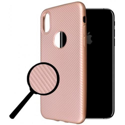Θήκη iphone X/XS Okkes Super Slim Σιλικόνης - 2978 - Carbon Ρόζ Χρυσό - OEM