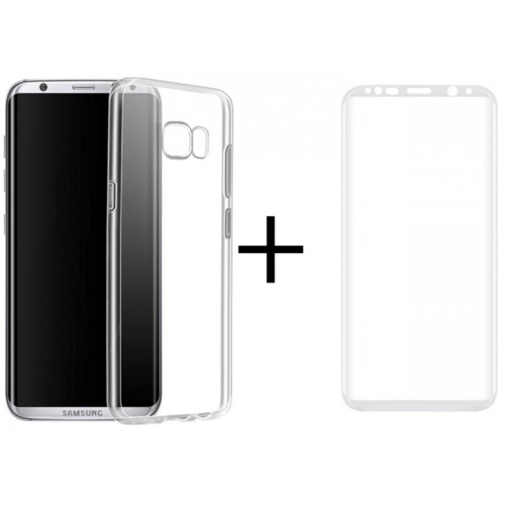 Θήκη Samsung Galaxy S8 Σιλικόνης TPU Ultra Slim Διάφανη + Tempered Glass Full Cover 3D Curved Edge Λευκό - 3167 - Remax Θήκες Κινητών