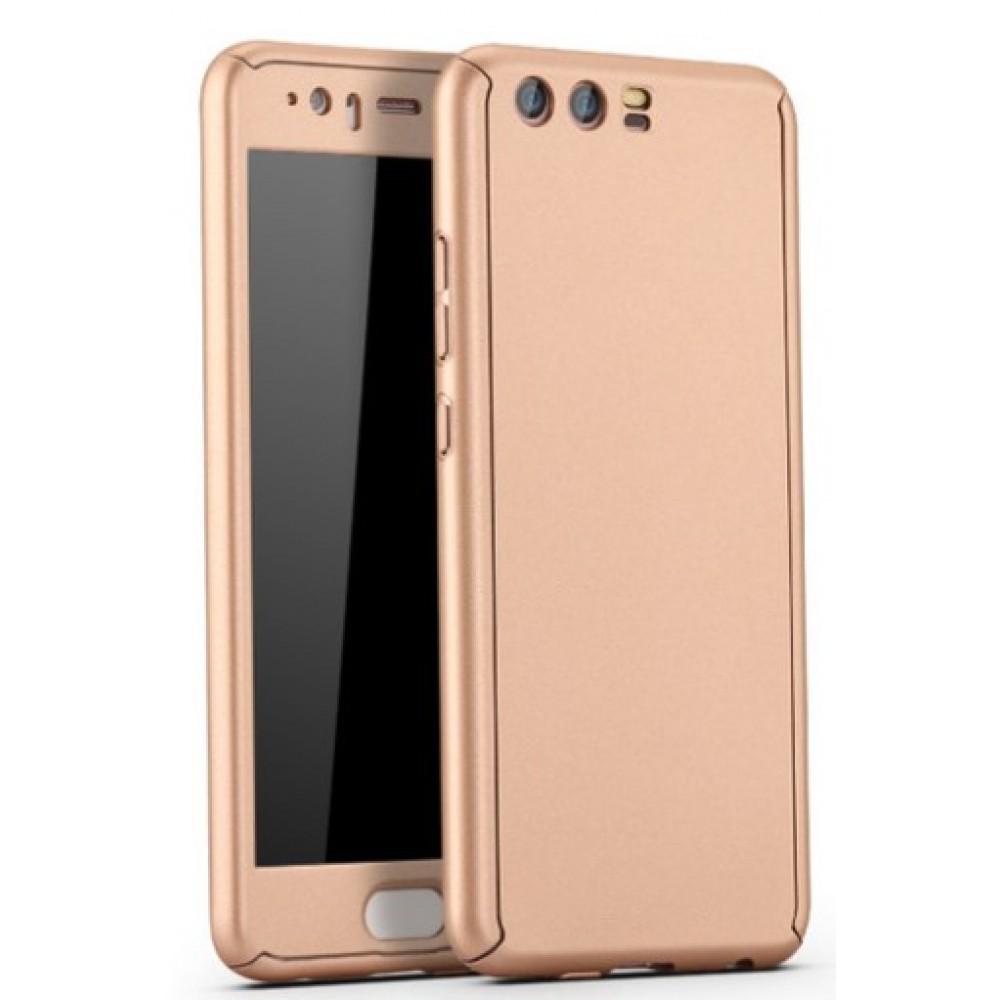 Θήκη Huawei P10 Hybrid 360 Full body + Tempered Glass Προστασία Οθόνης - 3228 - Χρυσό - OEM Θήκες Κινητών