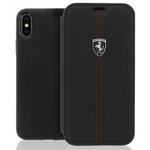 Θήκη iphone X Ferrari Off Track Book Case Leather - 3272 - Μαύρο
