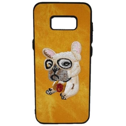 Θήκη Samsung Galaxy (G955) S8 Plus Hard (Σκληρή) Back cover New Design Art Handmade Σκύλος Πλεκτός - Κίτρινο - 3309 - OEM