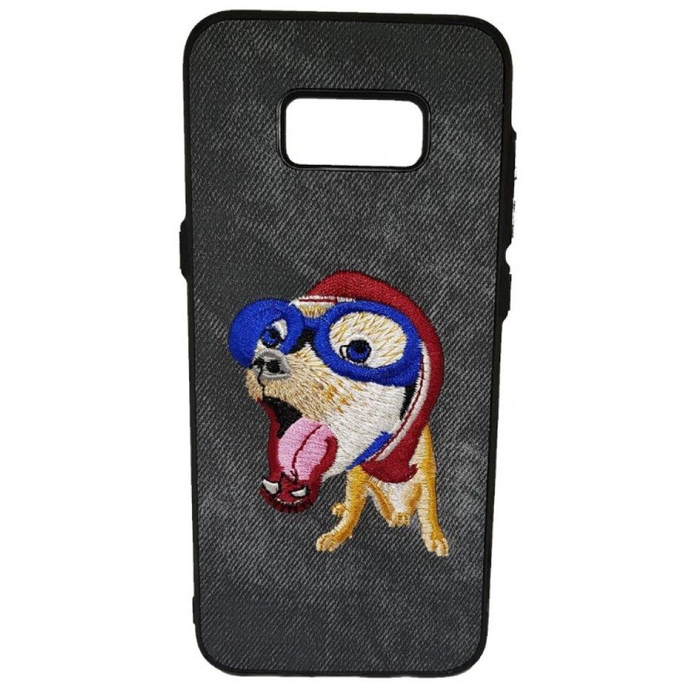 Θήκη Samsung Galaxy (G955) S8 Plus Hard (Σκληρή) Back cover New Design Art Handmade Σκύλος Πλεκτός - Γκρί - 3310 - OEM Θήκες Κινητών