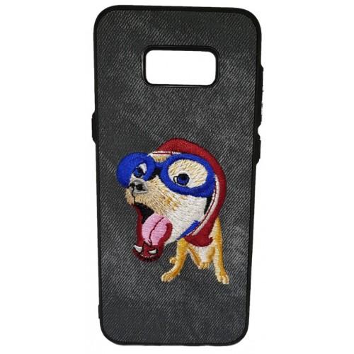 Θήκη Samsung Galaxy (G955) S8 Plus Hard (Σκληρή) Back cover New Design Art Handmade Σκύλος Πλεκτός - Γκρί - 3310 - OEM
