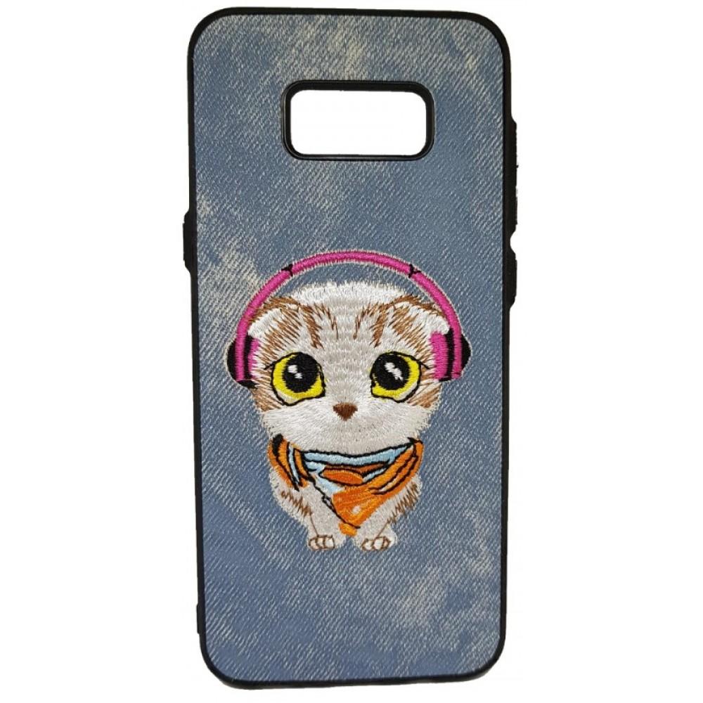 Θήκη Samsung Galaxy (G955) S8 Plus Hard (Σκληρή) Back cover New Design Art Handmade Γάτος Πλεκτός - Γκρί - 3311 - OEM Θήκες Κινητών