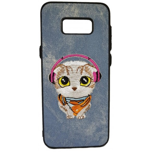 Θήκη Samsung Galaxy (G955) S8 Plus Hard (Σκληρή) Back cover New Design Art Handmade Γάτος Πλεκτός - Γκρί - 3311 - OEM