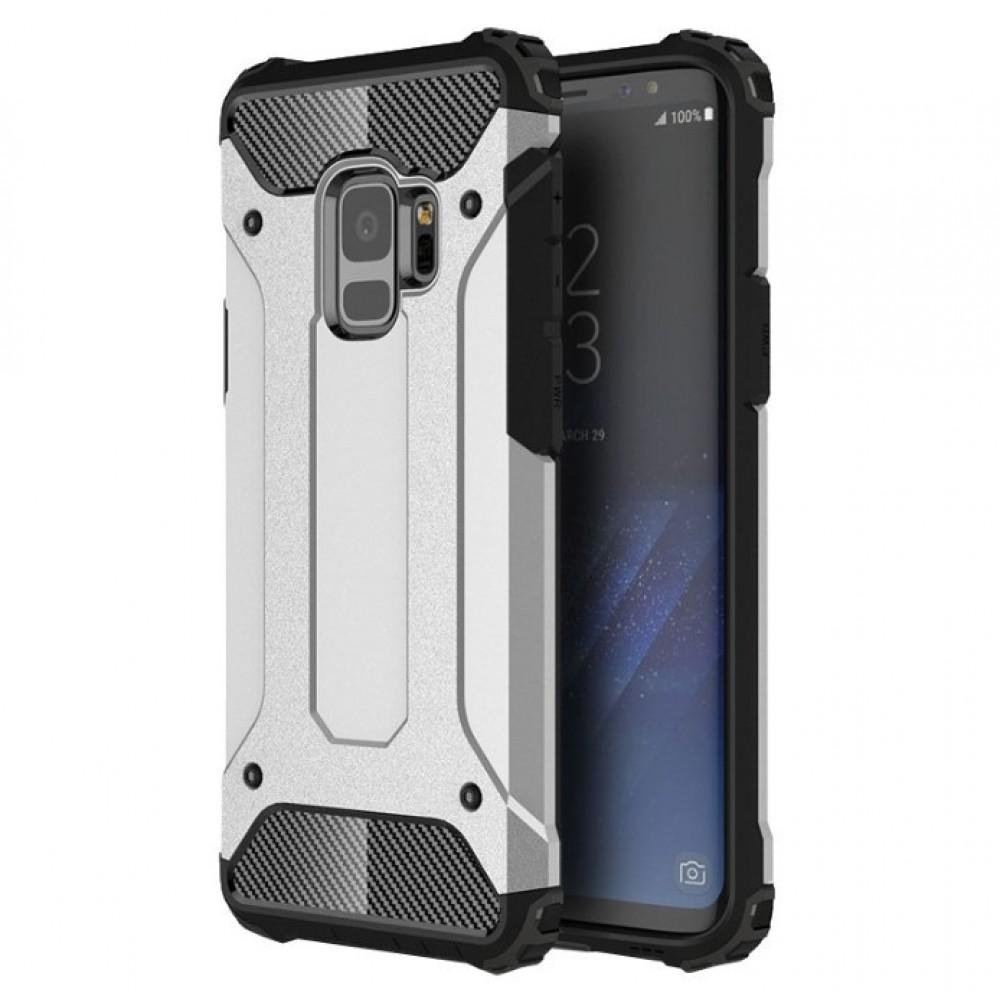 Θήκη Samsung Galaxy S9 (G960F) Hybrid Armor Σιλικόνης και Σκληρό πλαστικό (PC & TPU) - 3778 - Ασημί - OEM Θήκες Κινητών