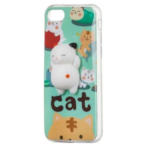Θήκη iphone 7/8 4D Σιλικόνης Αντί-στρες Squishy Γάτα - 4267 - Πράσινο - ΟΕΜ