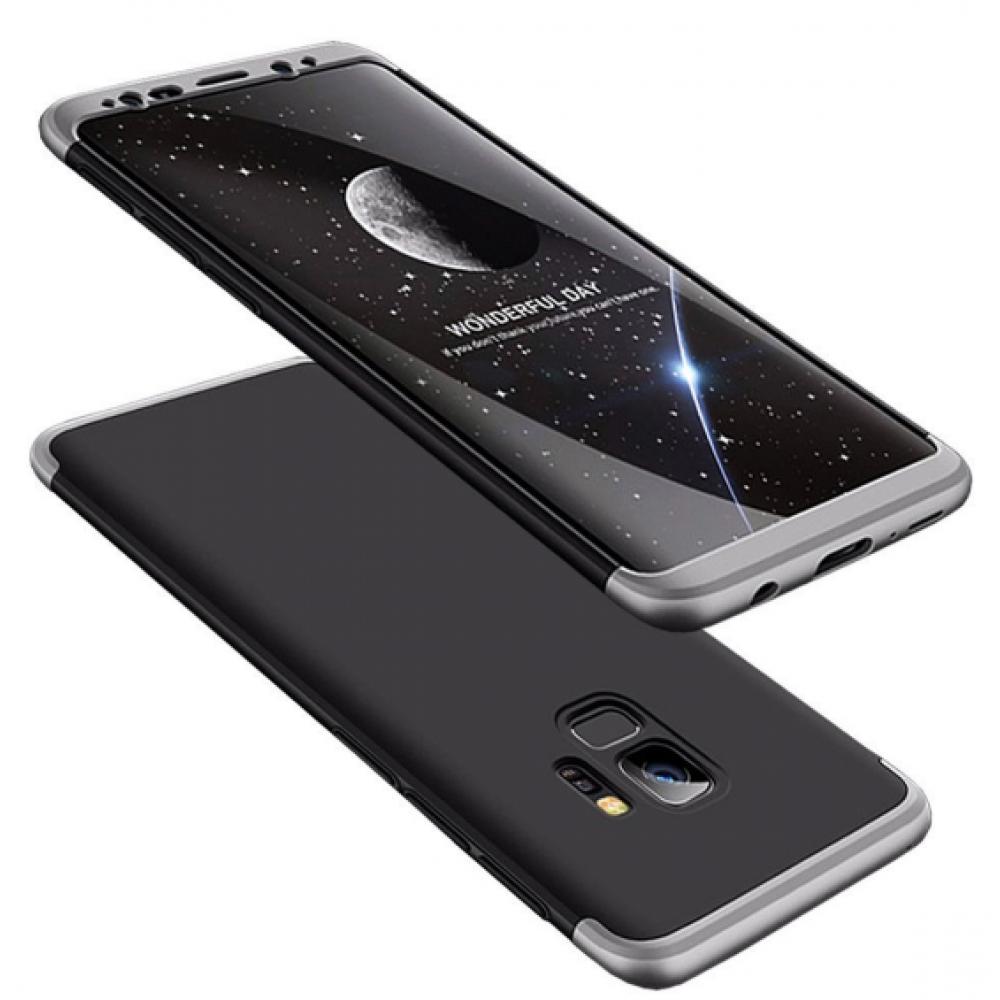 Θήκη Samsung Galaxy S9 (G960F) Full Body GKK 360° Σκληρή Πλαστική  - 3921 - Ασημί Μαύρο - ΟΕΜ Θήκες Κινητών