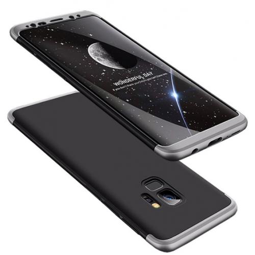 Θήκη Samsung Galaxy S9 (G960F) Full Body GKK 360° Σκληρή Πλαστική  - 3921 - Ασημί Μαύρο - ΟΕΜ